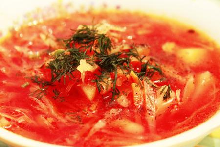 Borsch is a national russian and ukrainian soup photo