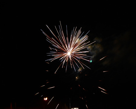pyro: Celebration firework in the black night sky Stock Photo