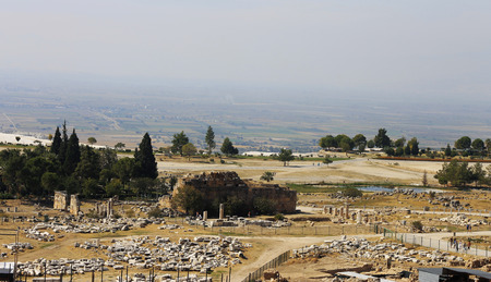 hierapolis: Ruins of theater in ancient town Hierapolis Turkey Stock Photo