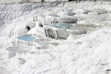 The Pamukkale natural lakes in Hierapolis Turkey