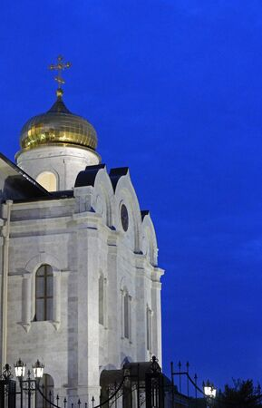 caucas: The Cathedral of Christ the Savior in Pyatigorsk, Northern Caucasus,Russia in the evening Stock Photo