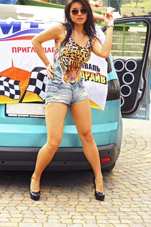 dubstep: Dancing girl dancing a dubstep on the moto festival 3 may 2015 Pyatigrorsk Russia