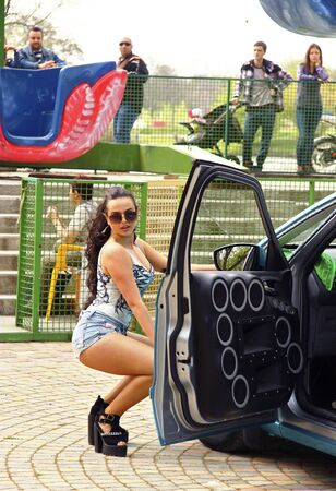 dubstep: 3 may 2015: Dancing girl dancing a dubstep on the moto festival - Pyatigrorsk, Russia Editorial