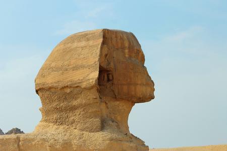 cheops: Sphinx statue in Giza Egypt. Ancient architecture