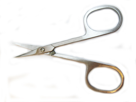 Manicure scissors for nails hand isolated on white background