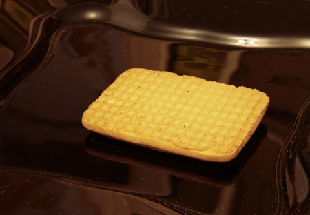 One cookie laying on the black plate Stock Photo