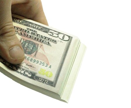Mans Hand Holding A Stacks Of Paper Dollars Usa On The White Background Stock Photo