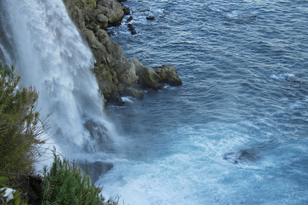 Duden waterfall. Antalya, Turkey. Mediterranean seashore