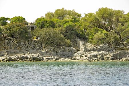 Seashore ruins on St. Nicholas island - Gemiler island, Turkey Stock Photo