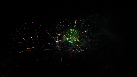 Celebration firework in the black night sky Stock Photo