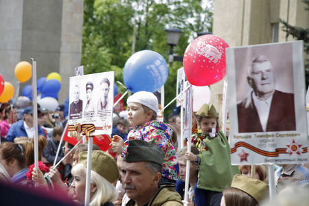 Celebration Of The 71Th Anniversary Of The Victory Day, Pyatigorsk Russia - May 09, 2016. Immortal regiment