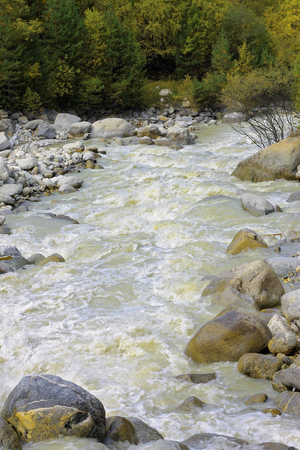Wild mountain river flowing in the canyon Stock Photo