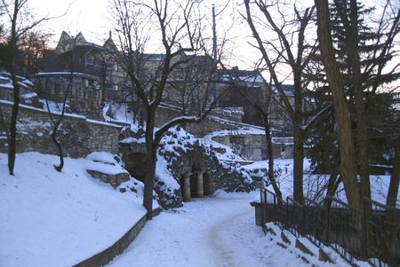 The Dianas Grotto. Flower park. Pyatigorsk landmarks The Northern Caucas at winter