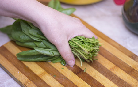 Woman cutting sorrel by knife on the wooden cooking desk on the kitchen