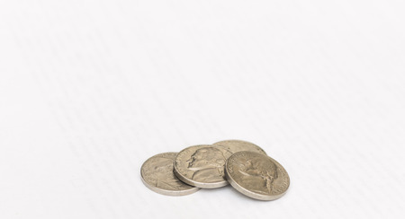 Some modern coins of USA isolated on the white background