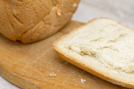 Sliced fresh hot homemade bread after baking iin the kitchen close up Reklamní fotografie