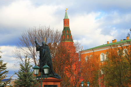 Monument of hieromartyr Ermogen Patriarch of Moscow and All Russia in the Alexander Garden, Kremlin Moscow, Russian Federation  19 october 2013 Stock Photo