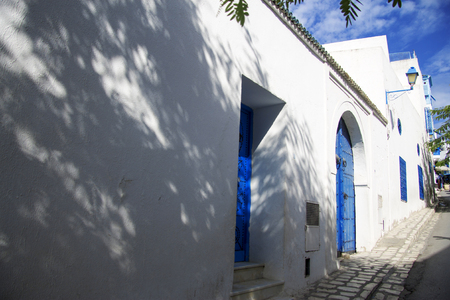 Street of white and blue design town Sidi Bou Said, Tunisia, North Africa
