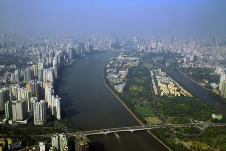 Guangzhou and bridge over Pearl river view from windows of Canton tower