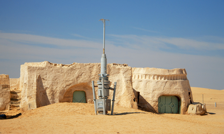 Buildings for decorations of movie Star Wars Episode First in Sahara desert, Nefta, Tunisia 14 october 2018 Editorial