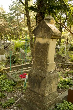 Ancient grave on the The Old cemetary - Necropolis. Historical part of Pyatigorsk, Northern Caucasus Russian Federation 19 augustl 2018