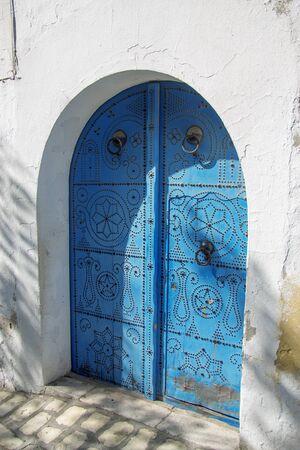 Gates of White and blue design town Sidi Bou Said, Tunisia, North Africa