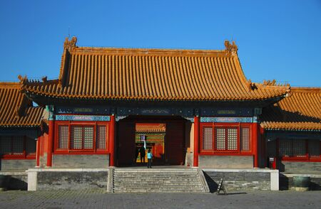 The Temples Of The Forbidden City against blue sky In Beijing China republic 29 october 2013