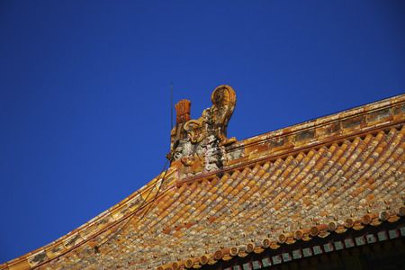 Roof of The Temple Of The Forbidden City against blue sky In Beijing China republic 報道画像