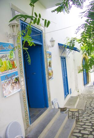 White and blue design town Sidi Bou Said, Tunisia, North Africa 09 october 2018
