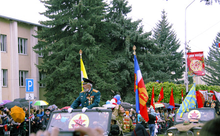 Celebration Of The 70Th Anniversary Of The Victory Day, Pyatigorsk Russia - May 09, 2015. Veterans of War moving in auto car