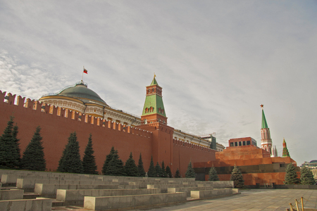 Kremlins wall and The Lenins Mausoleum - Lenins Tomb on the Red Square, Moscow, Russian Federation 30 october 2018