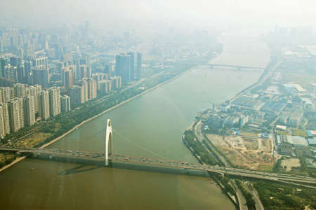 Guangzhou city and Pearl river view from windows of Canton tower