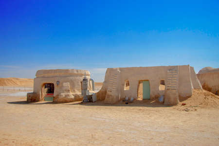 Decorations of movie Star Wars Episode First in Sahara desert, Nefta, Tunisia 14 october 2018