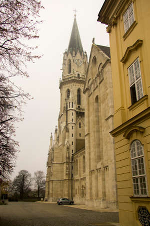 Klosterneuburg monastery of Roman Catholic church near Vienna Austria in morning mist 04 november 2018