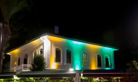 Color house on the street of old town Kaleici at night time, Antalya Turkey 24 september 2019 Sajtókép