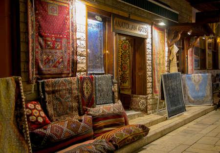 carpet shop on the street of old town Kaleici at night time, Antalya Turkey 24 september 2019 Sajtókép