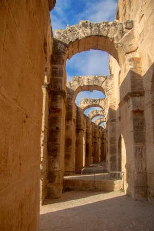 Inside of Coliseum of El Jem Tunisia. Ancient amphitheater in North Africa 13 oct 2018 Sajtókép