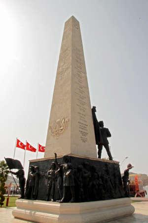 Memorial monument for victim of terror on town square in Fethiye, Mugla, Turkey 11 september 2017 Stock fotó - 158372473
