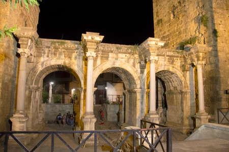 Adrian gates of old town at night Kaleichi Antalya Turkey 24 september 2019