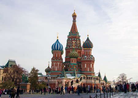St Basil`s cathedral and sculpture to Minin and Pojarskii on Red Square, Moscow, Russian Federation 30 oct 2018