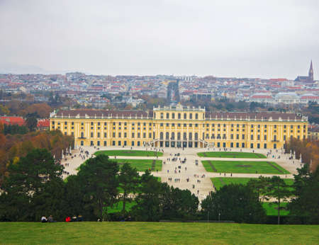 Shonbrunn Palace back view and area foreground Vienna Austria 03 november 2018 Editorial