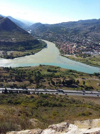 Aragvi and Kura rivers confluence near city of Mtskheta in Georgia republic