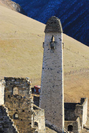 Ancient Towers of Ingushetia. Antic architecture and ruins of Northern Caucasus, Russian Federation