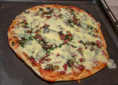 Hot homemade pizza with mozzarella, fried mushrooms, sausage and parsley on the dripping pan