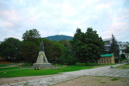 Mikhail Lermontov monument against Mashuk mountain in the park of Pyatigosk 12 sept 2012