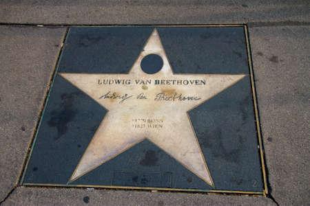 Star of Ludwig van Beethoven, Walk of fame, Kerntner strasse, Vienna, Austria 05 november 2018
