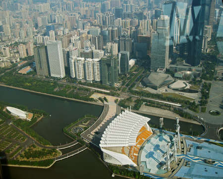 Guangzhou city and Pearl river view from windows of Canton tower China republic