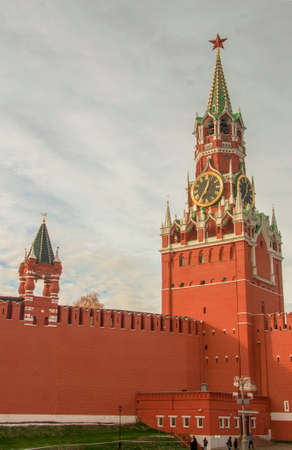 The Spasskaya Tower of the Kremlin in Moscow, Russia 2018-10-31