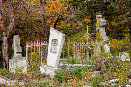 Ancient stone crosses and thombstones on the The Old cemetery - Necropolis. Historical part of Pyatigorsk; Northern Caucasus landmark Russian Federation 04 oct 2020 Sajtókép
