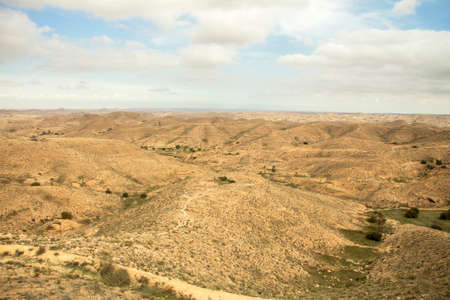 Sahara desert landscape near Matmata in the south of Tunisia, North Africa Stock fotó